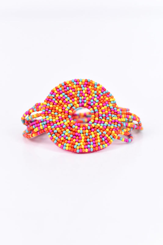 Multi Color Seed Bead Circle Stretch Bracelet - BRC2160MU