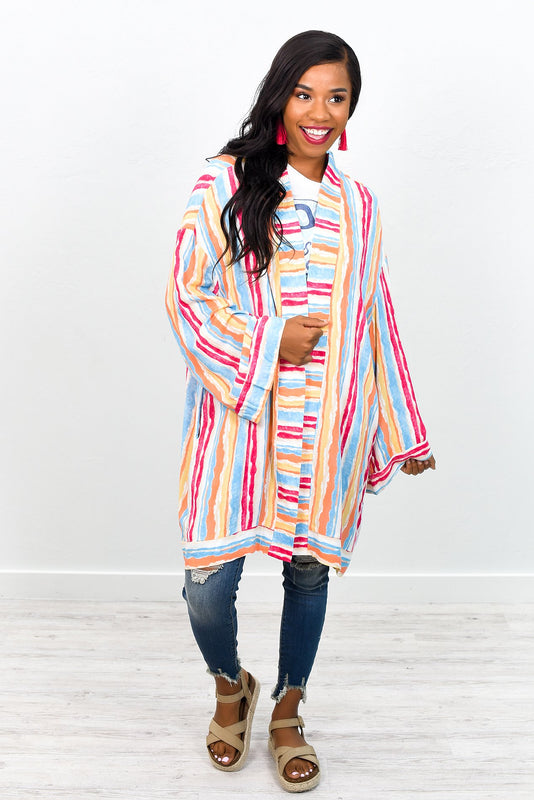 Make Some Time Pink/Multi Color Striped Kimono - O1758PK