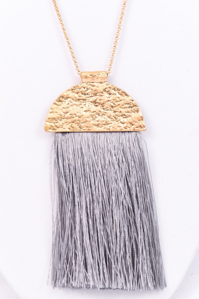 Gold Hammered/Gray Tassel Necklace - NEK2659GO