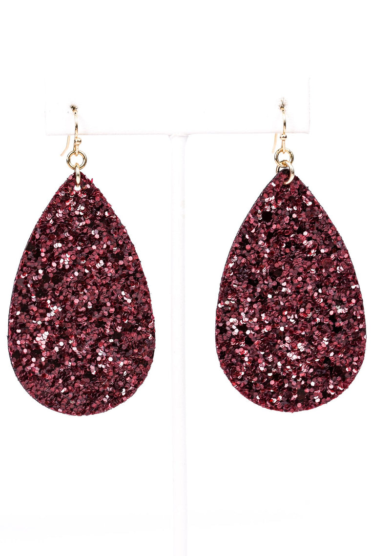 Burgundy Glitter Teardrop Earrings - EAR2370BU