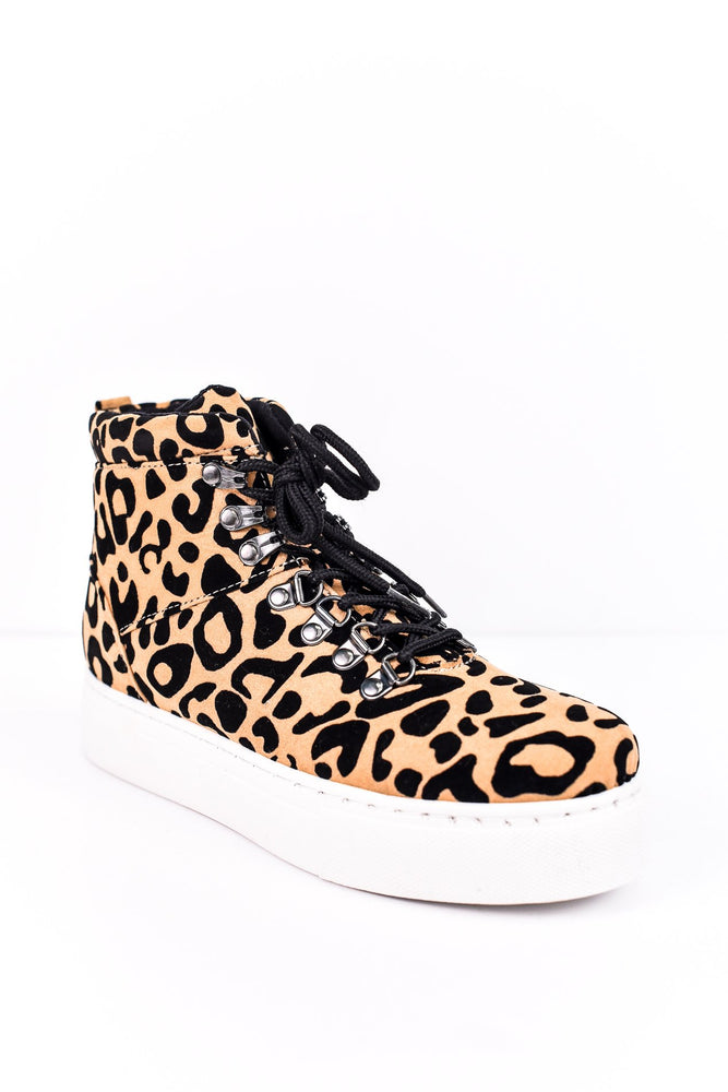 Stand My Ground Tan/Black Leopard Lace Up/Platform Sneaker Boots - SHO1528TN