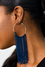 Long Navy Tassel Gold Hoop Earrings - EAR2345NV