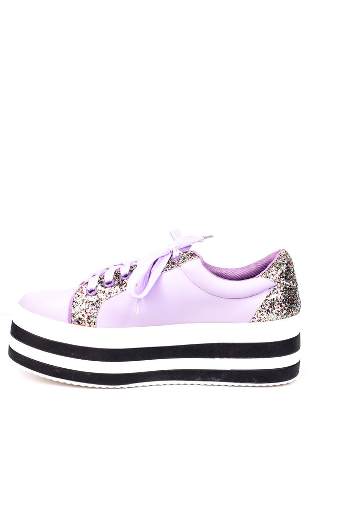Spice Up Your Life Purple/Glitter Platform Sneakers - SHO1544PU