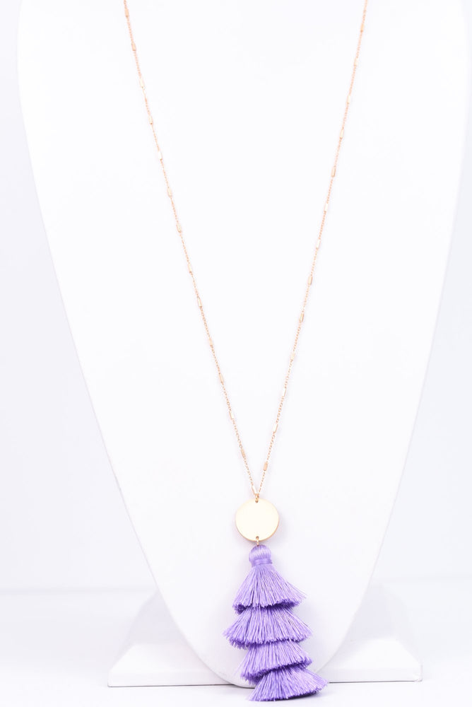 Lavender/Gold 4-Tier Tassel Necklace - NEK2678LV