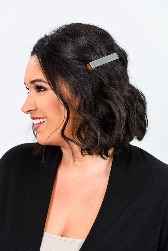 Gold Rectangle Bar Hair Clip - CLP113GO