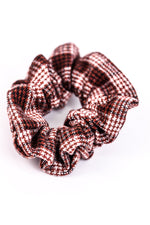 Burgundy Plaid Hair Scrunchie - SCR102BU