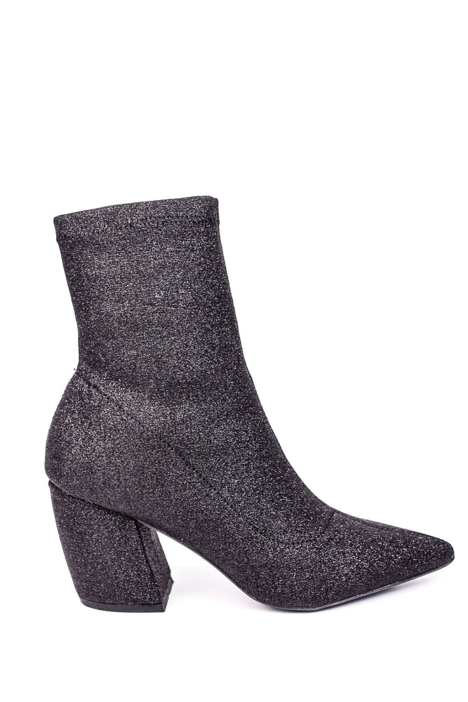 The Star For Tonight Black Glitter Booties - SHO1561BK