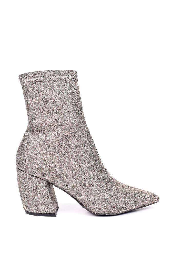 The Star For Tonight Champagne Multi Color Glitter Booties - SHO1560CH