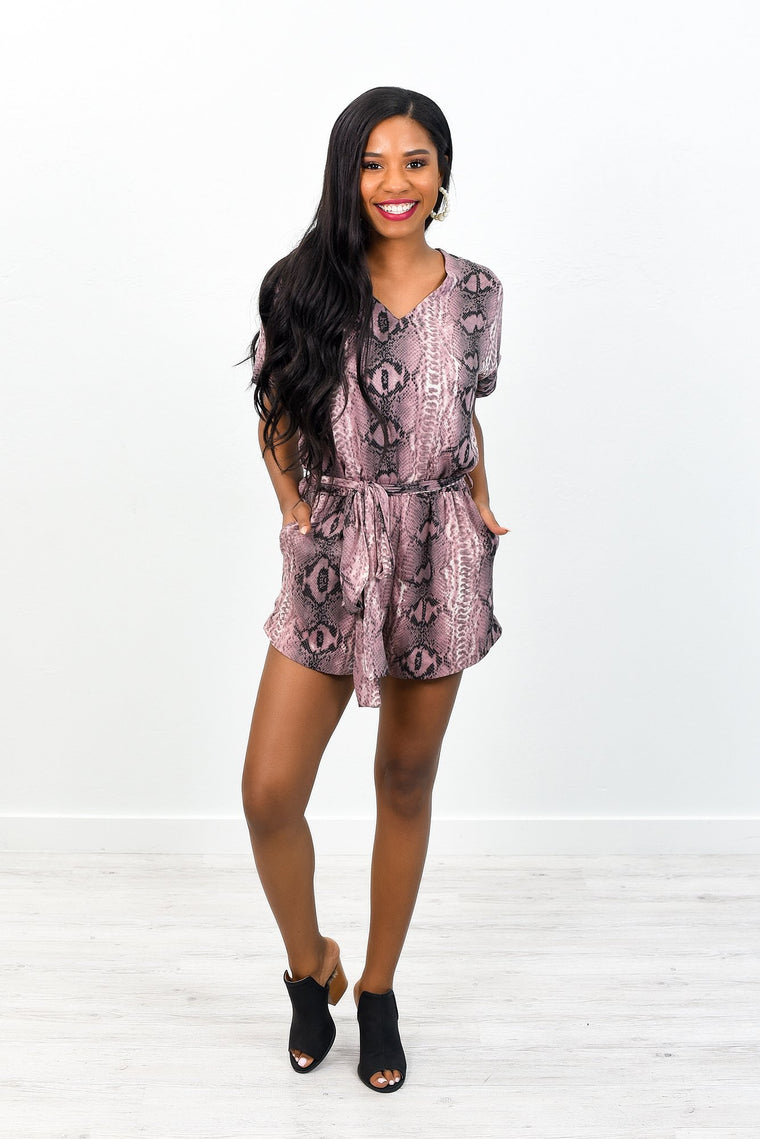 Eager To Meet You Light Mauve Snakeskin V Neck Romper - RMP348LMV