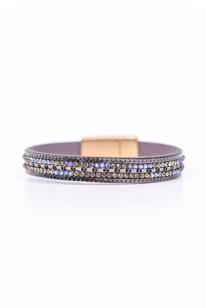 Dark Gray Bling Magnetic Closure Bracelet - BRC2197DGR