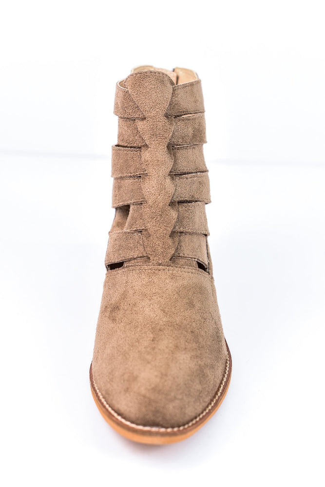 Tough Act To Follow Taupe Booties - SHO1578TA