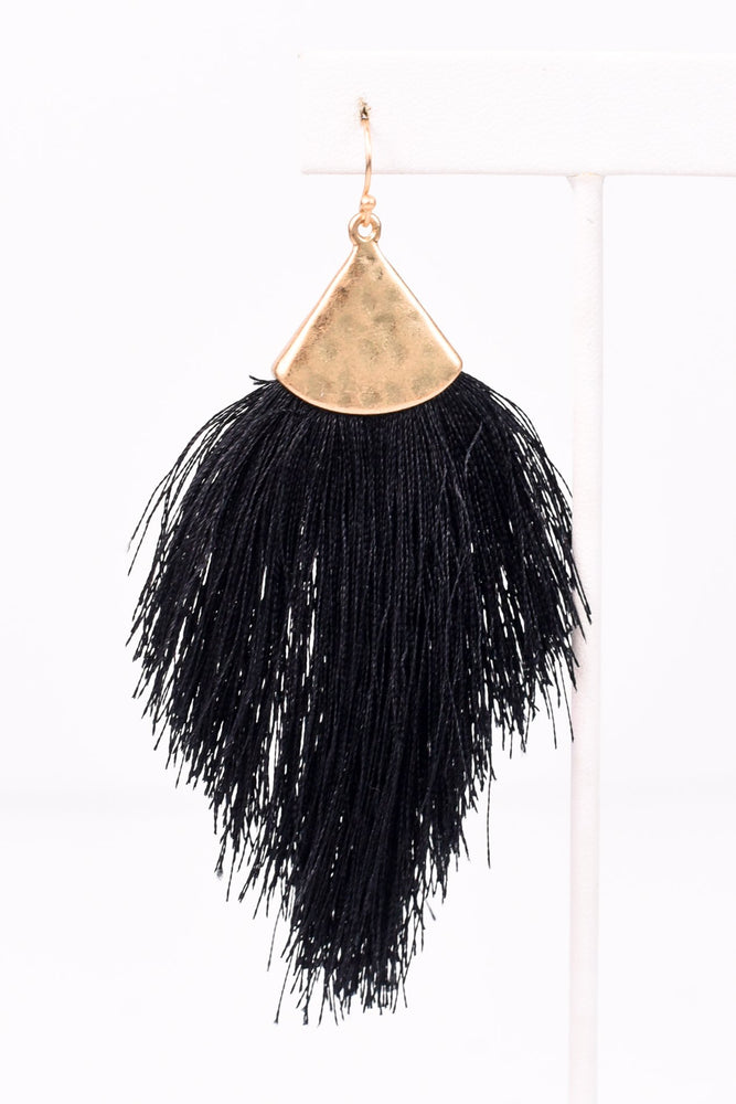 Black/Gold Hammered Fringe Tassel Earrings - EAR1452BK