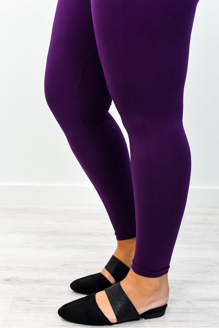 Purple Wide Band Solid Leggings (Sizes 12-18) - LEG2482PU