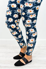 Navy Floral Printed Leggings (Sizes 20-26) - LEG2466NV