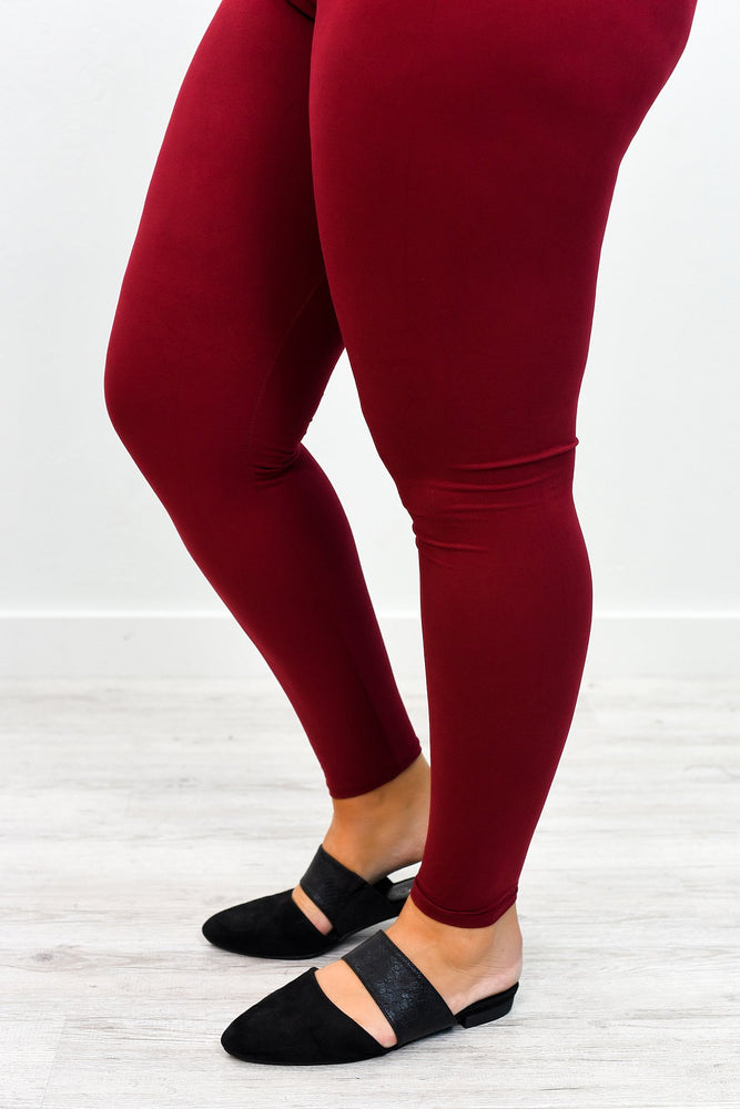 Burgundy Wide Band Solid Leggings (Sizes 20-26) - LEG2480BU