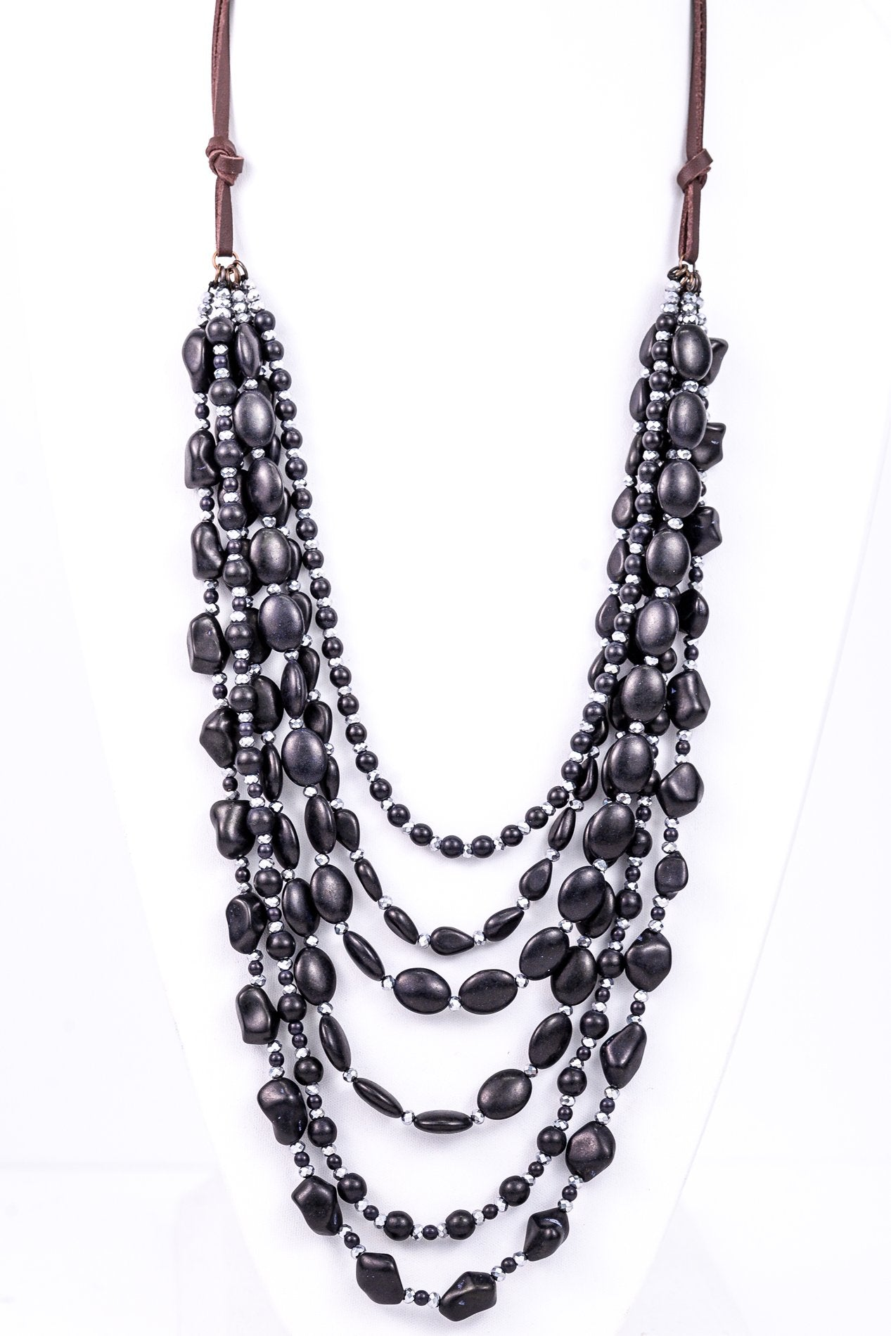 Black/Silver Multi-Layer Beaded On Brown Cord Necklace - NEK2721BK