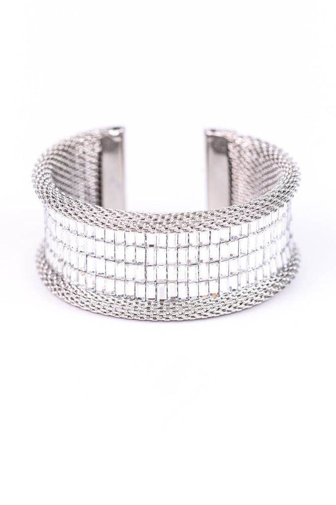 Rhinestone Baguette Cut Statement Adjustable Cuff Bracelet - BRC2213RH