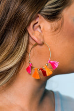 Multi-Color Tassel Hoop Earrings - EAR2389MU