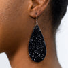 Black Glitter Teardrop Earrings - EAR2414BK