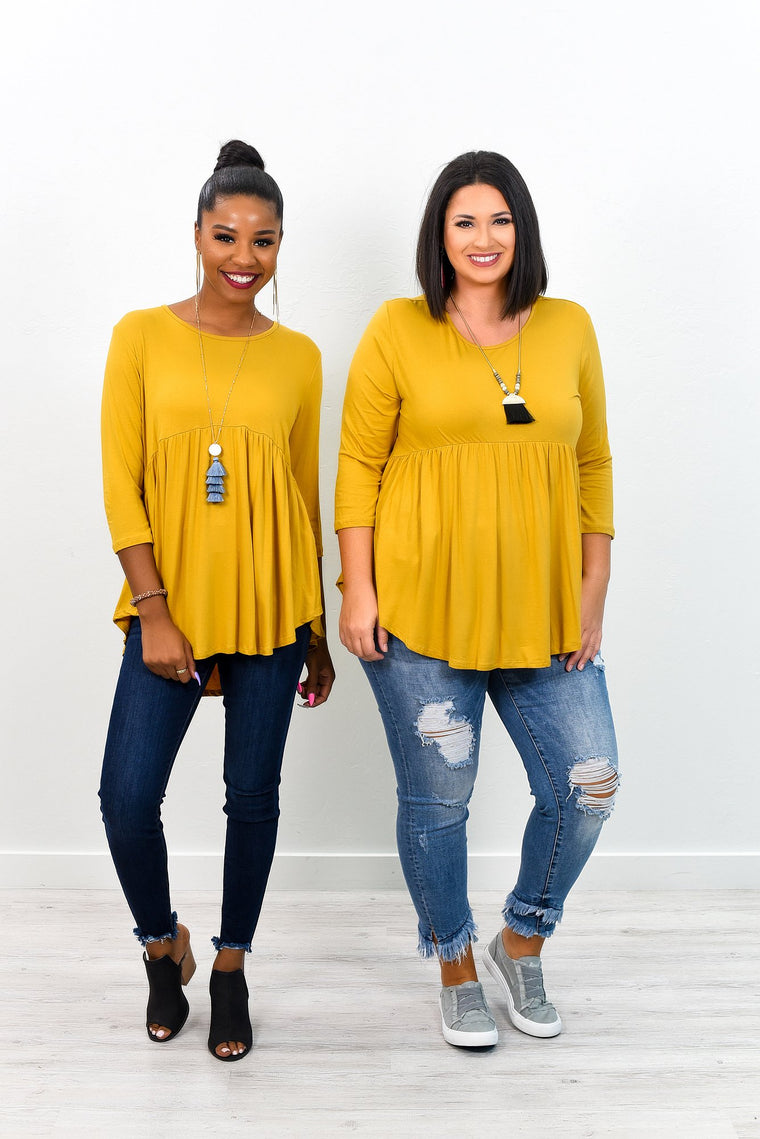 Always At My Best Mustard Babydoll Top - B6422MS
