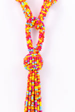 Multi Color Seed Bead Tassel Necklace - NEK2711MU