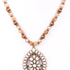 Ivory Teardrop Pendant On Natural Beaded Chain Necklace - NEK2731IV