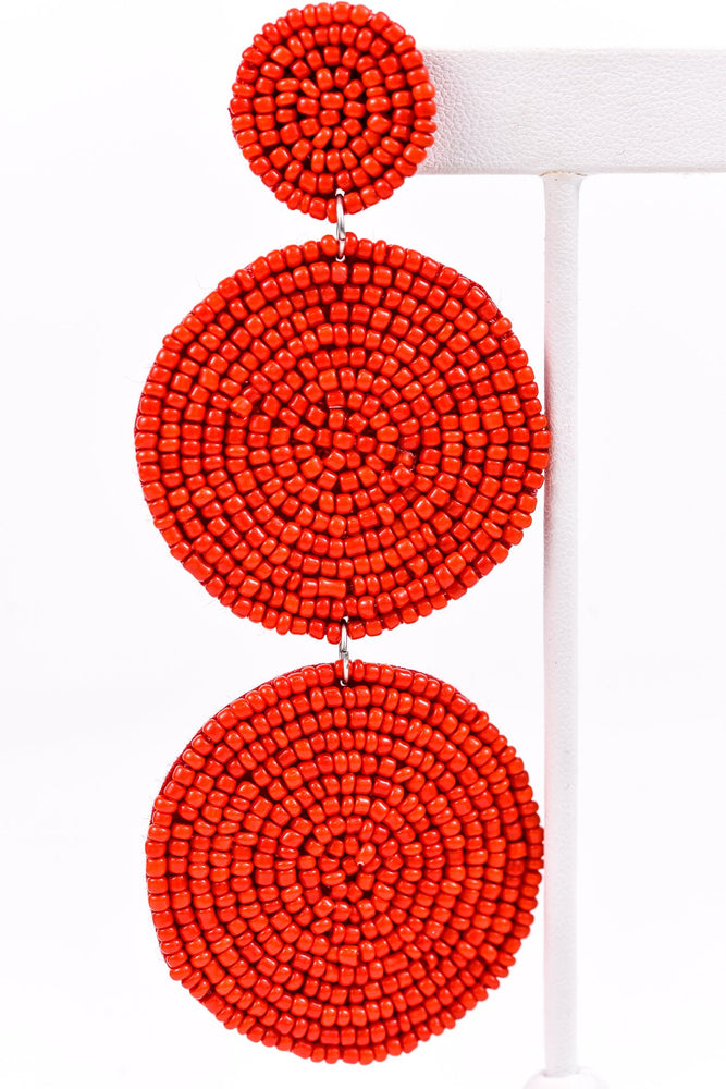 Red 3-Tier Seed Bead Earrings - EAR2474RD