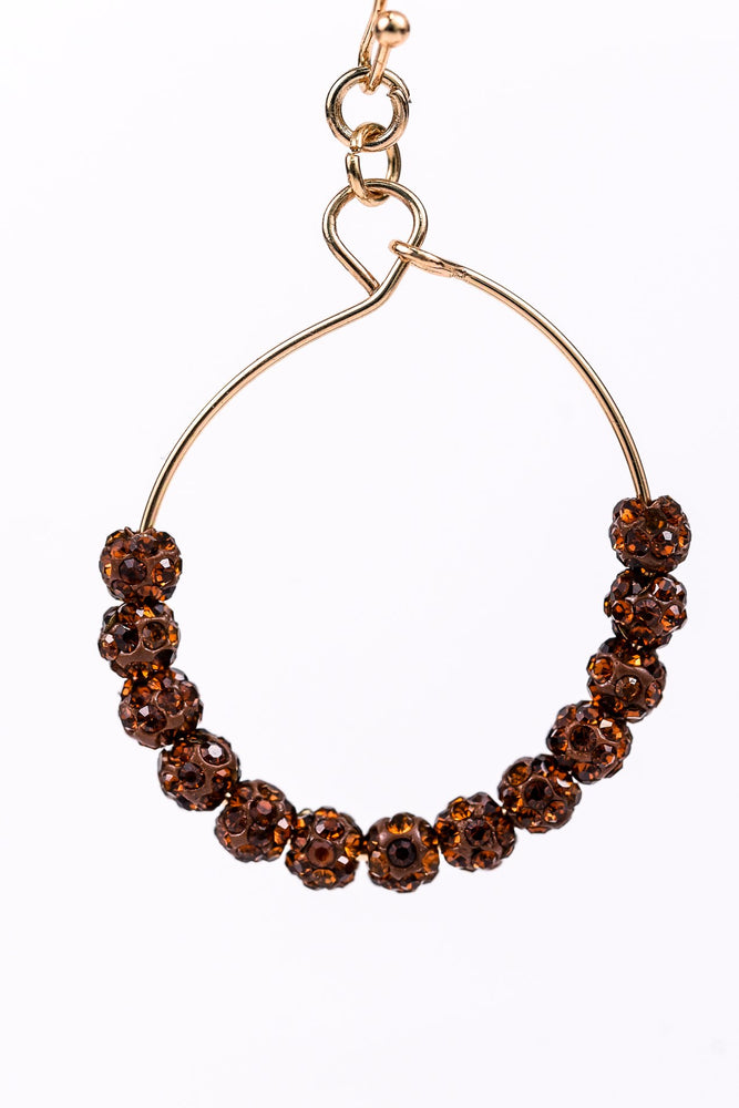 Rust Bling Beaded Gold Hoop Earrings - EAR2456RU