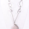 Silver With Marble Rock/Links With Gray Tassel/Stone Pendant Necklace - NEK2757SI