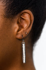 Pearl/Silver Rectangle Bar Drop Earrings - EAR2468PR