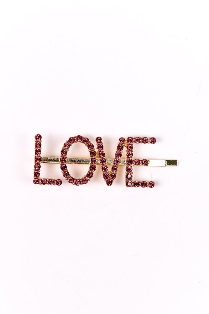'Love' Pink Bling Hair Clip - CLP161PK