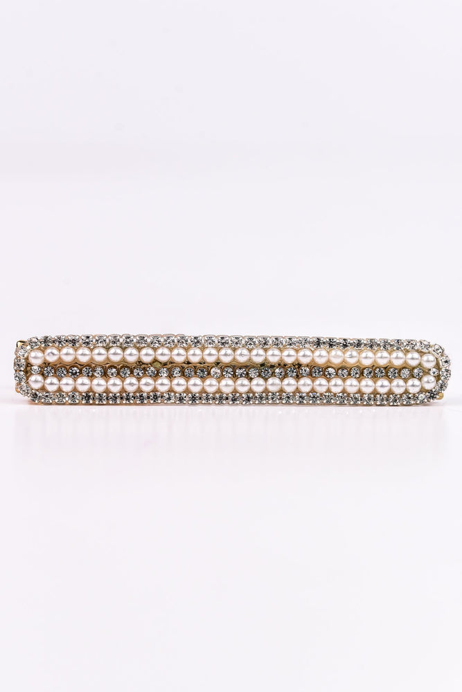 Gold Rectangle Pearl/Bling Hair Clip - CLP156GO