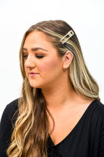 Small Rectangle Cut Out Gold/Bling Hair Clip - CLP144GO