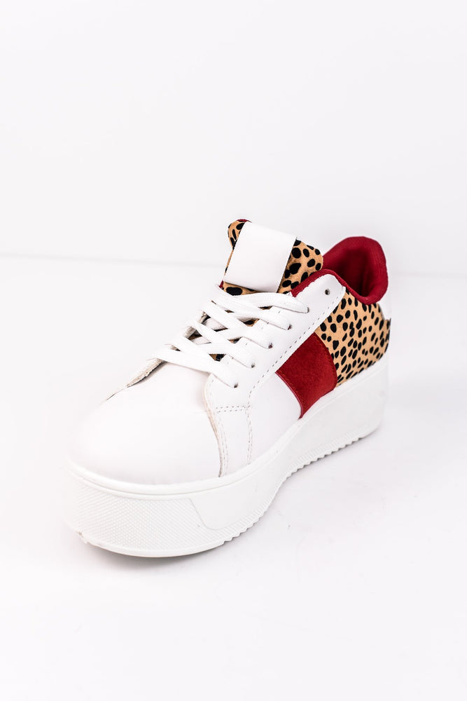 Spot Me Out White/Camel Leopard/Burgundy Platform Sneakers - SHO1627WH