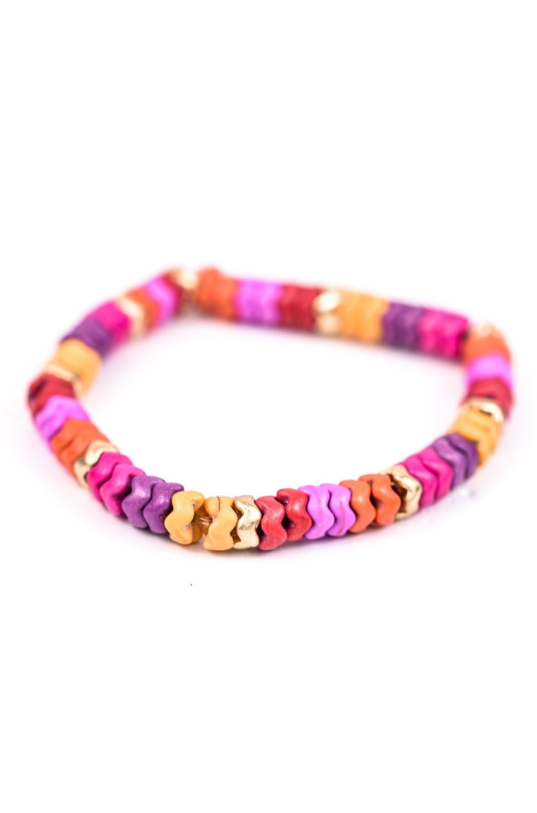 Multi Color Beaded Stretch Bracelet - BRC2261MU