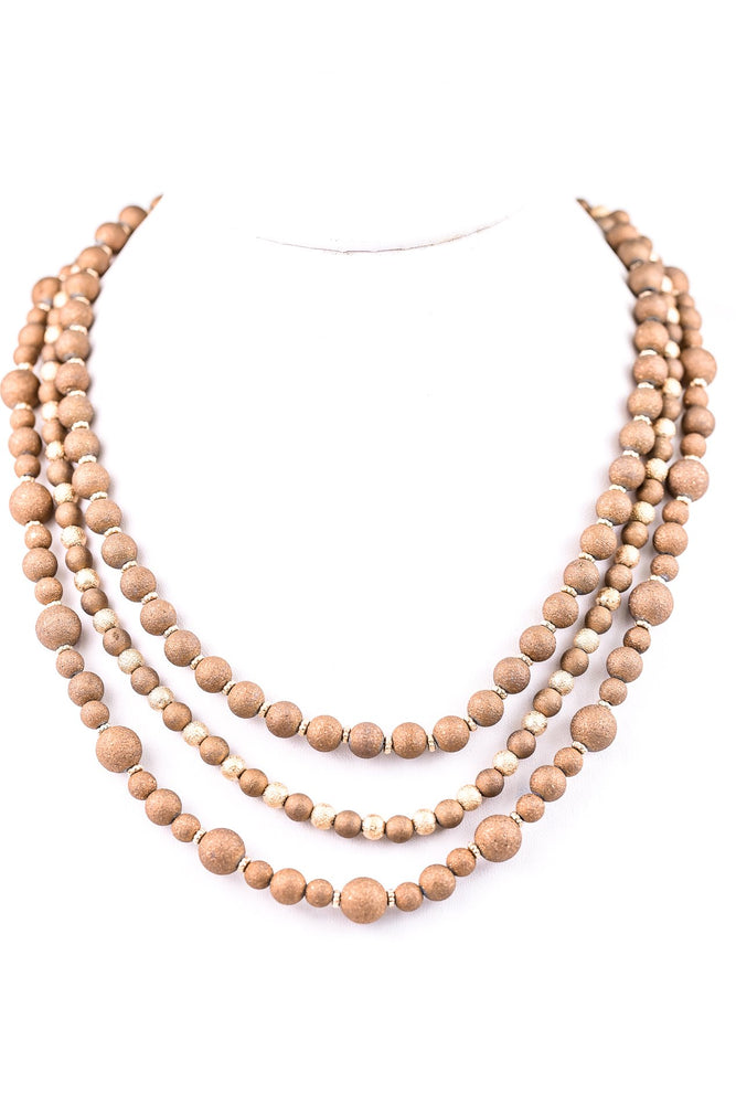 Gold/Brown Beaded Triple Layered Necklace - NEK2778GO