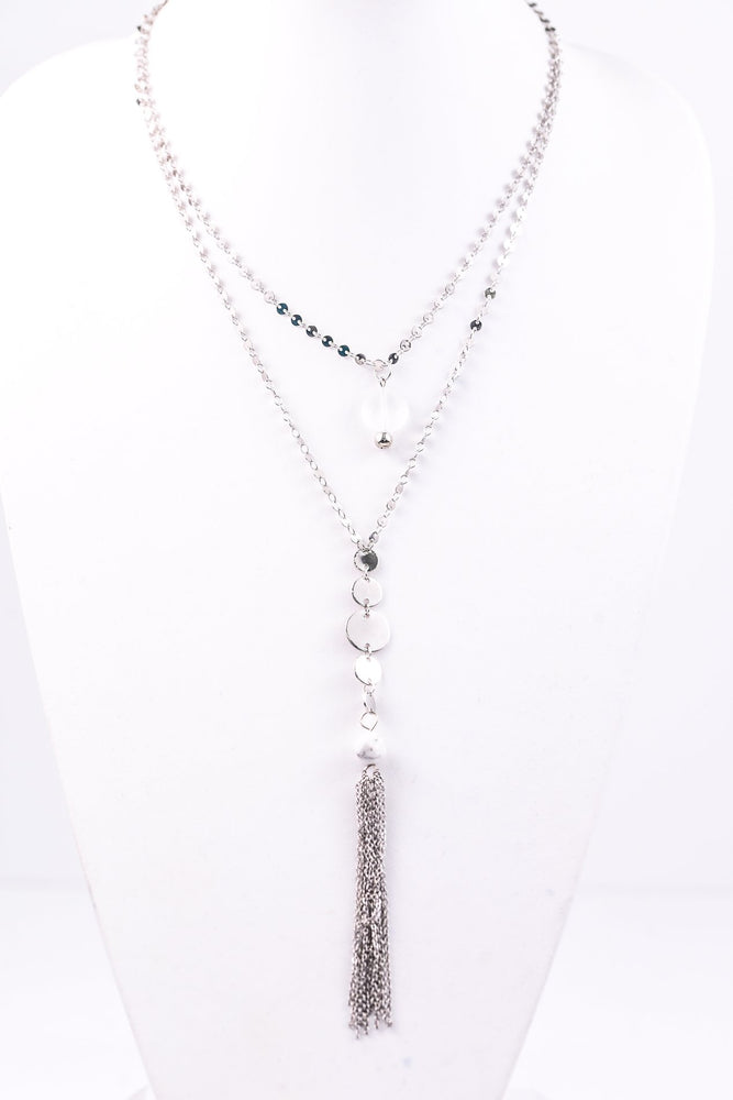 Silver Layered Disk/Rock Bead Tassel Necklace - NEK2754SI