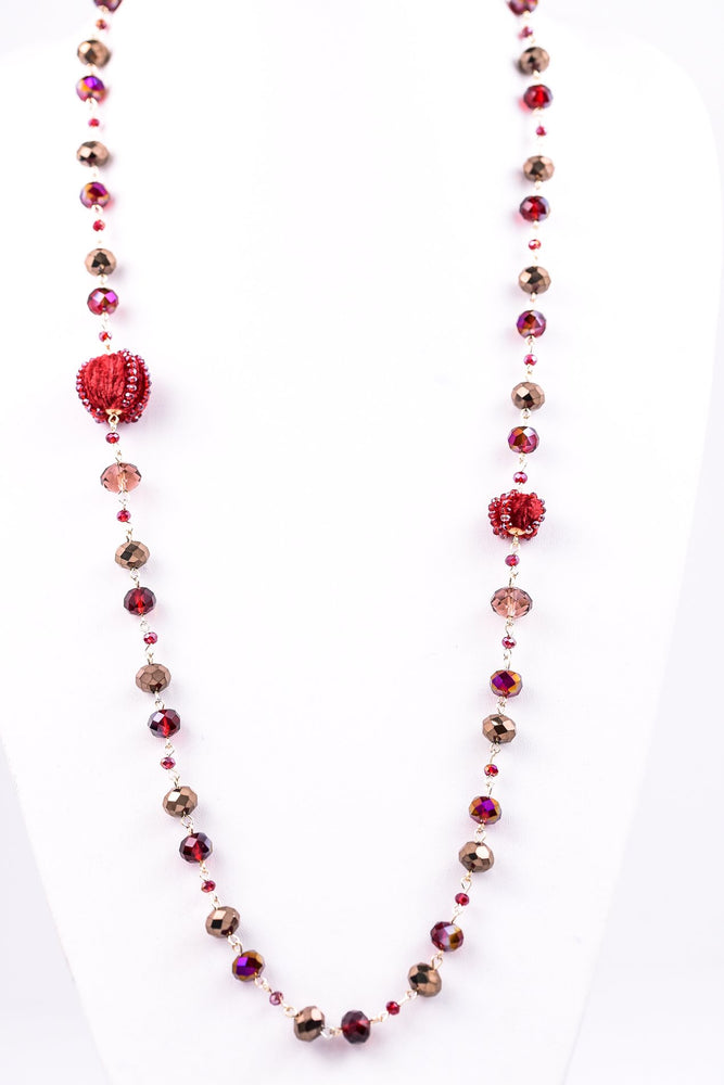 Burgundy/Clear Beaded/Velvet Beaded Necklace - NEK2768BU