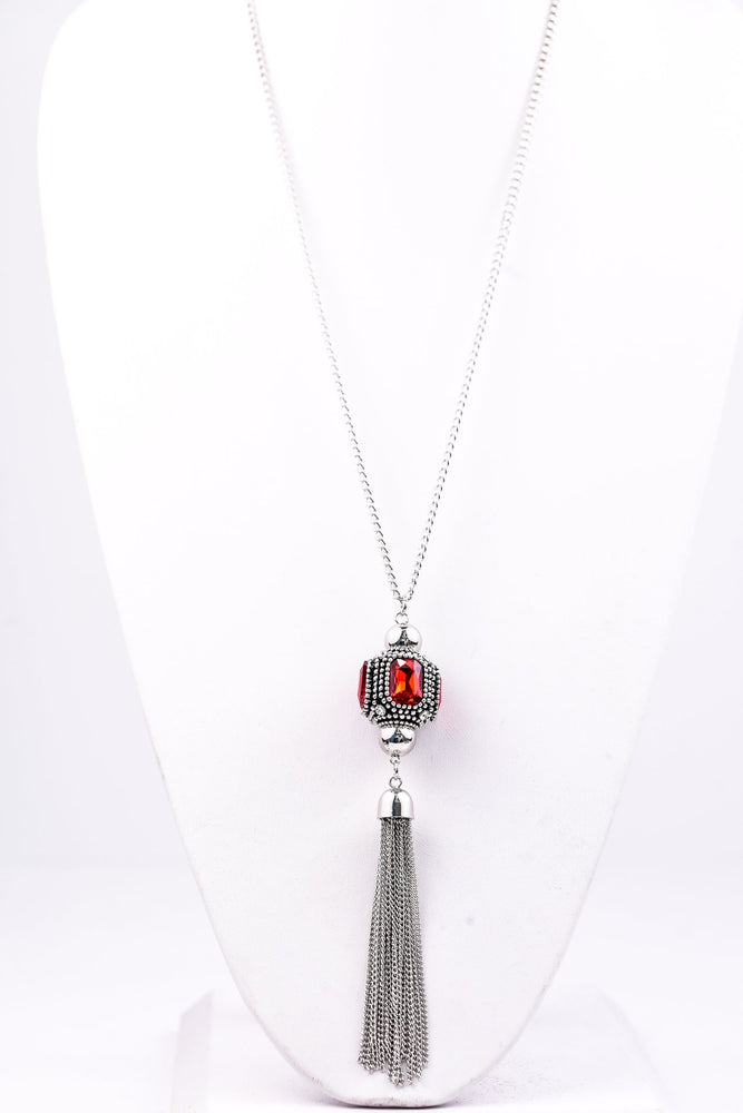 Silver/Red Stone Cube With Silver Tassel Necklace - NEK2781SI