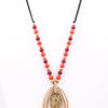 Gold Layered Oval Pendant Red/Burgundy Beaded On Black Suede Cord Necklace - NEK2784GO