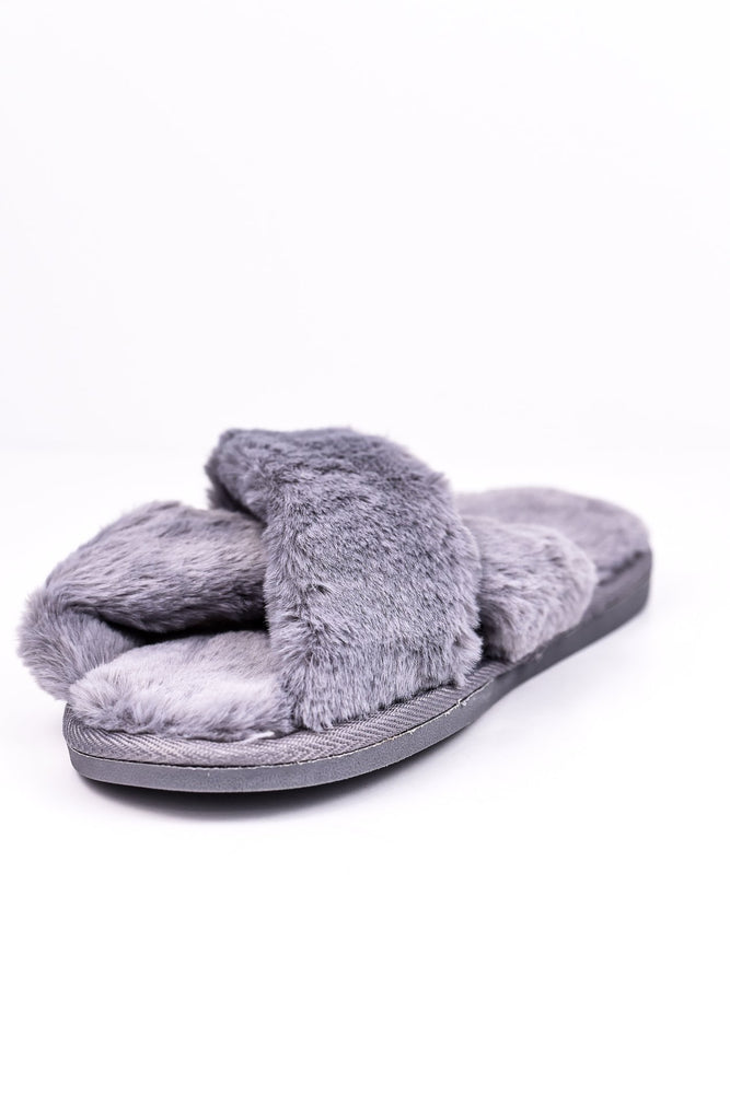 Gray Faux Fur Slippers - SHO1634GR