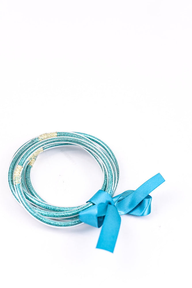 Blue Glitter Tube Bangle Bracelet - BRC2249BL