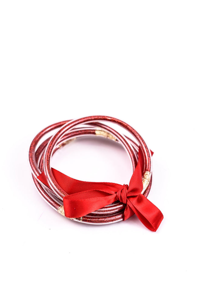 Red Glitter Tube Bangle Bracelet - BRC2248RD