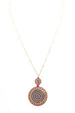 Burgundy/Multi Color 2-Tier Circle Pendant On Gold Chain Necklace - NEK2820BU