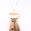 Gold Disc With Fringe/Feather Tassel On Gold Chain Necklace - NEK2819GO