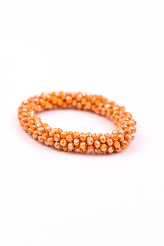 Peach Beaded Rope Cluster Stretch Bracelet - BRC2275PE