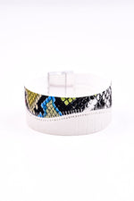 White/Multi Color Snakeskin Magnetic Closure Bracelet - BRC2266WH