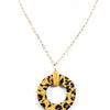 Mustard Leopard Circle Pendant With Seed Bead On Gold Chain - NEK2808MS