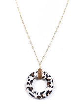 Ivory Leopard Circle Pendant With Seed Bead On Gold Chain - NEK2809IV