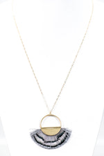 Gray Fringe/Feather Semi Circle On Gold Chain Necklace - NEK2812GR